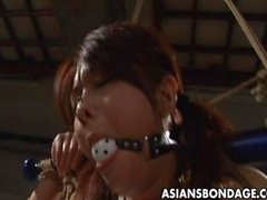 Bound Asian chick fucked with a dildo