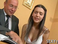 Babe is getting her twat ravished by teacher on the bed