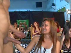 Ravishing babes are gratifying stud with blowjobs