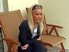 Sexy blonde Sharka shows her body