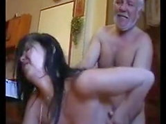 Young girl and old man have brutal sex