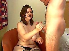 chubby hooker handjob gets a surprise