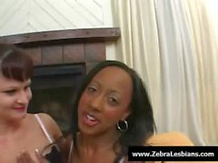 Zebra Girls - Ebony lesbian babes enjoy deep strap-on fuck 15