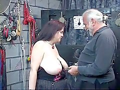 Girl gets nipples clamped hard and bends over