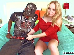Beautiful blonde Aiden Starr takes black monster cock