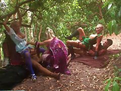 Blonde fairytail is so horny that can't help herself and fucks with her friends in the forest