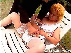 Fat Blonde Gets Outdoor Nookie