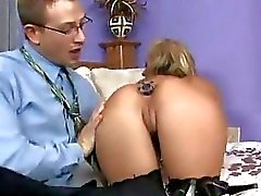 Busty bitch Phoenix Marie plugs her butt before getting both holes hammered
