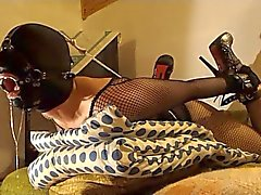 Ring gagged slave slut in hogtied gets deep throat slamming