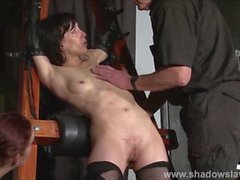 Enslaved painslut Elise Graves whipping in hard bdsm punishment session of