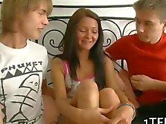 Two lads bring out the whore in her