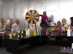 Reverse gangbang session with desirable hussies