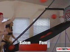 Two cute girls Salem and Fern play strip basketball shootout