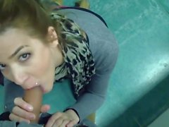 Blowjob & quickie with creampie in classroom