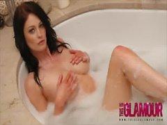 Beautiful glamour british girl Sam teasing in her nice hot soap bath