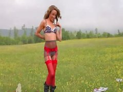 cute striptease outdoor by the forest