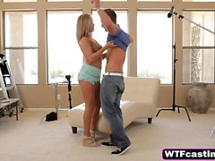 Blonde Babe Big Tits Kissing Casting Blowjob