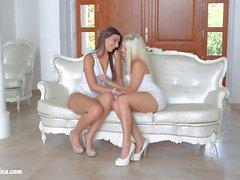Straight To The Point by Sapphic Erotica lesbian love porn with Blanche Bradburry Carla Cruz