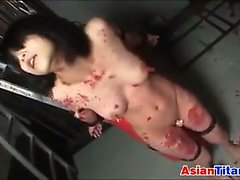Asian Slave Gets Her Body Covered In Wax