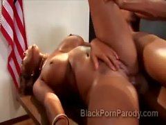 Young and innocent ebony hottie Ashley smashed at school in parody