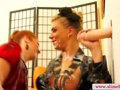 Sexy lesbians at the gloryhole getting slimed in high def