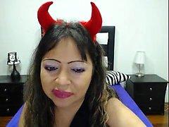 Slutwife love sucking sextoys and masturbate alone on webcam