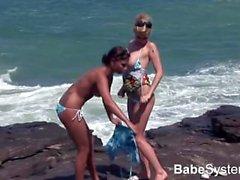 Two Awsome Girl Sex on the Beach
