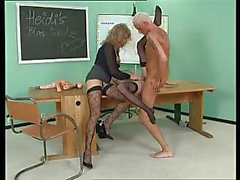 Very naughty school teacher is going to fuck them both hard