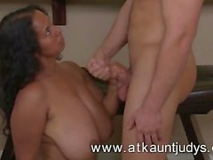 BBW Delilah gives a footjob