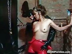 Guy masked in leather acts in BDSM play