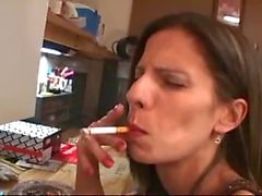 He licks her ass with smoking
