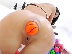 anal masturbation, huge toys