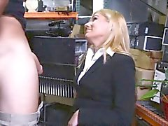 Blonde MILF sells her pussy and screwed by pawn dude