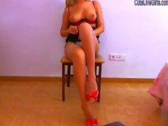 gorgeous blonde sucking on two dildos 4 .wmv