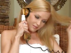 Sophie Moone blindfolds hot lesbian babe Brandy Smile for her pleasure