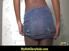 Ebony testing a gloryhole blowjob 9