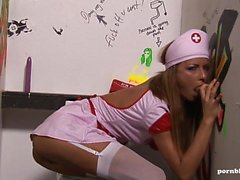 Sexy blonde Nurse Glory Hole Fucking