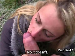 Blonde sucks big cold cock outdoors