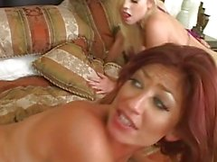 Amazing busty brunette and blonde busty wifes fucking in a great hardcore orgy
