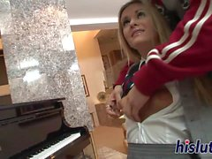 Skinny cheerleader has her tight muff plowed