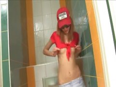 Amazingly bony cute girl on toilet