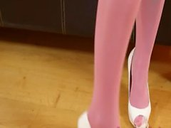 Sexy pink nylon stocking and hot babe