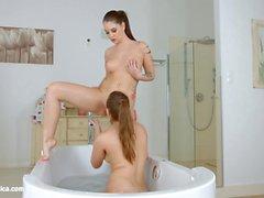 Bathtub babes by Sapphic Erotica - sensual lesbian scene with Angelina Brill Jessica Night
