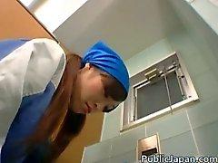 Real asian restroom attendant