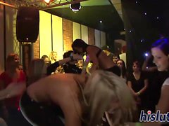 Delicious babes get banged at a party