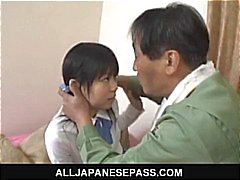 Minami Asaka Lovely Asian schoolgirl plays with her big vegetables
