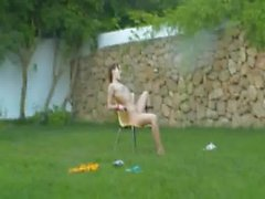 Ivana girl getting wet on the grass