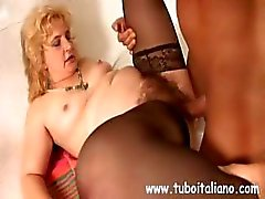 Chubby mature Italian whore with a hairy pussy makes love with a younger man