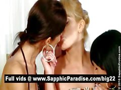 Amazing brunette and blonde lesbians fingering and licking pussies in a three way lesbian orgy
