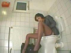 Toilet self anal masturbation